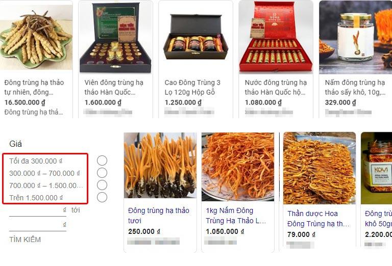 Giá đông trùng hạ thảo được tìm kiếm trên google ngày 28/4/2020