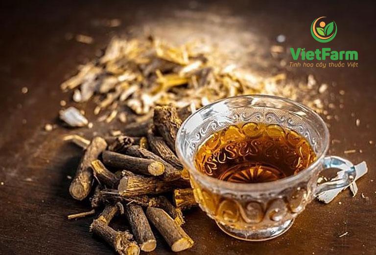 Uống trà cam thảo để trị ho và đau họng