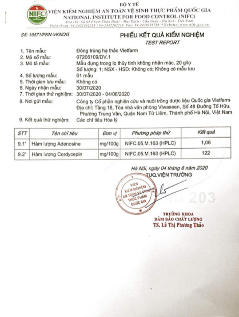 Bộ Y Tế kiểm nghiệm hàm lượng hợp chất trong đông trùng hạ thảo Vietfarm và cấp phép lưu hành toàn quốc