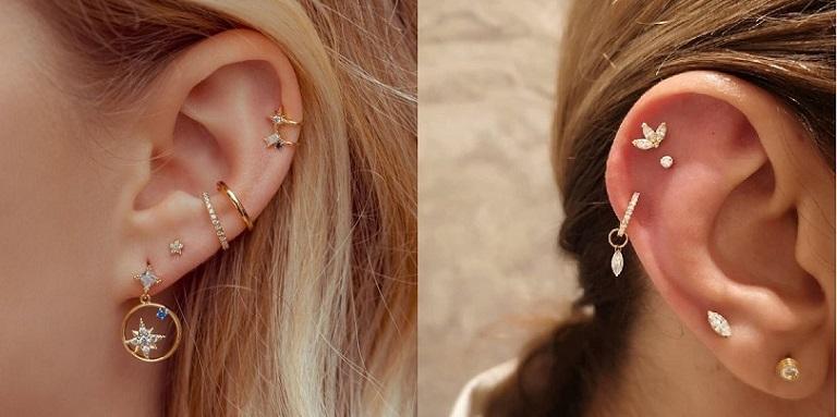 Các chấn thương tai do bấm lỗ vành tai, đeo hoa tai kim loại thường xuyên