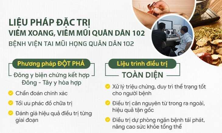 Giải pháp điều trị viêm xoang Quân dân 102 của bệnh viện YHCT Tai Mũi Họng Quân Dân 102 vô cùng đặc biệt