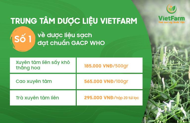 Trung tâm dược liệu Vietfarm cung cấp 3 sản phẩm từ xuyên tâm liên