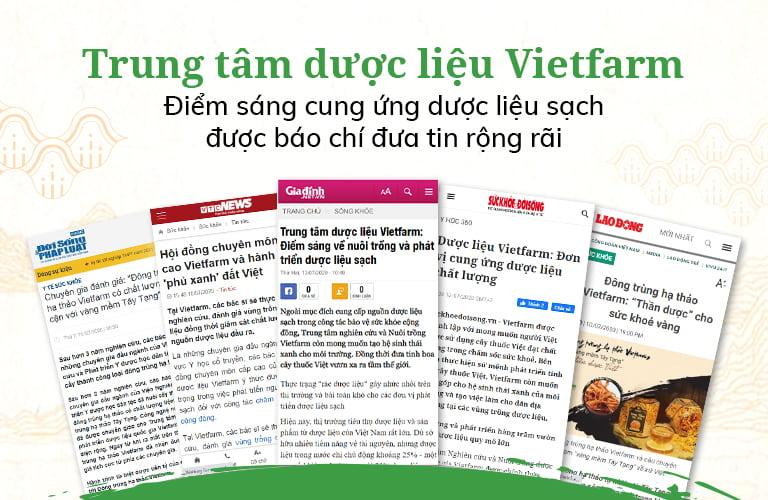Trung tâm dược liệu Vietfarm nhận được nhiều đánh giá cao từ báo chí