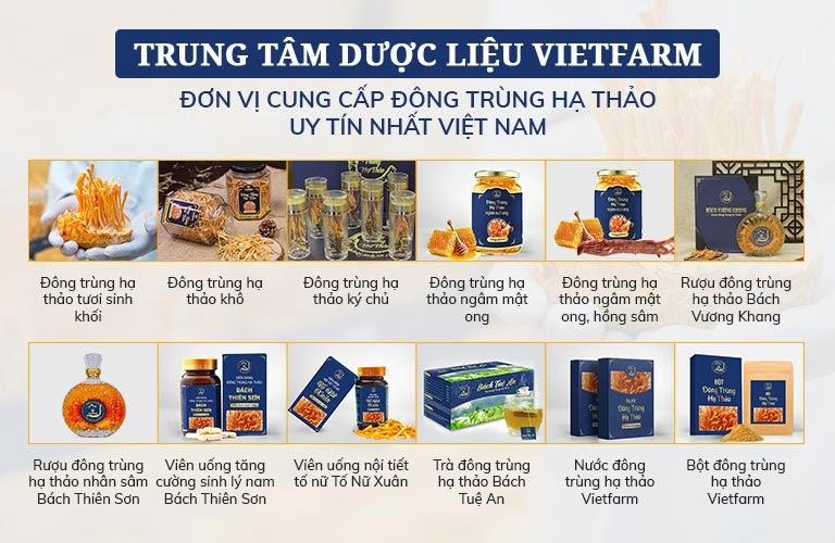 Các sản phẩm của Đông trùng hạ thảo Vietfarm
