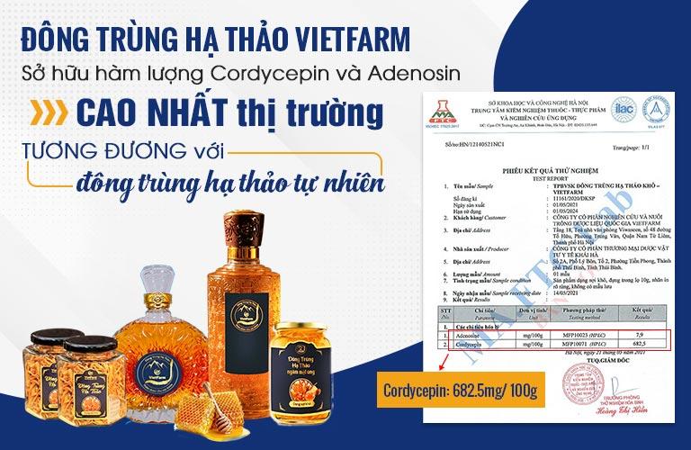 Hàm lượng dưỡng chất trong Đông trùng hạ thảo Vietfarm cao vượt trội