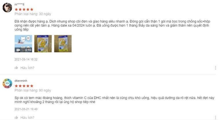 Trên Shopee cũng có không ít lượt mua và đánh giá DHC vitamin C