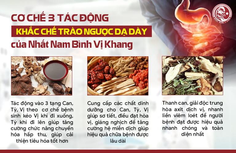 Nhất Nam Bình Vị Khang khắc chế bệnh trào ngược dạ dày bằng cơ chế 3 tác động