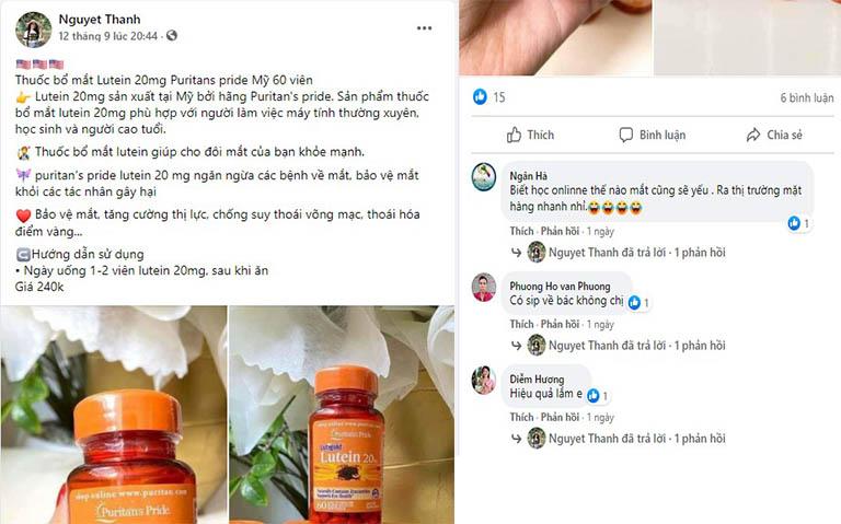 Trên Facebook nhiều người quan tâm đến Lutein Zeaxanthin