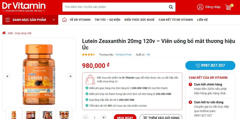 Lutein Zeaxanthin được bán trên Dr Vitamin