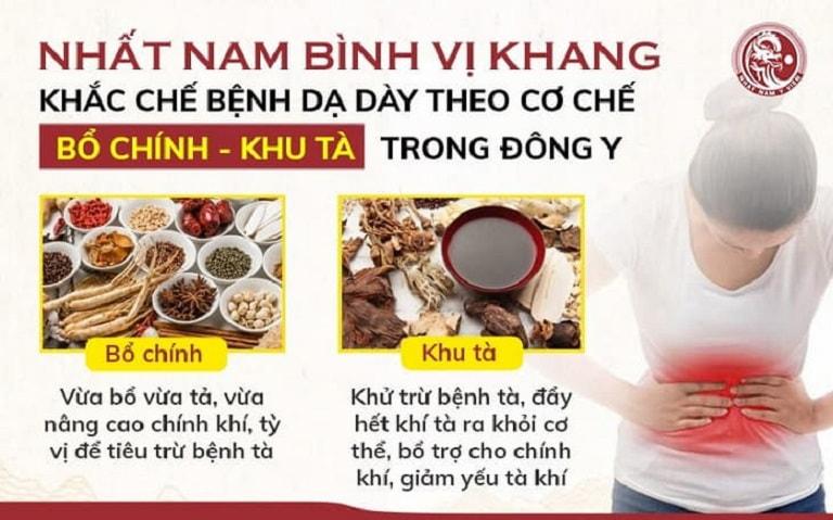 Nhất Nam Bình Vị Khang khắc chế bệnh đau dạ dày theo cơ chế BỔ CHÍNH - KHU TÀ