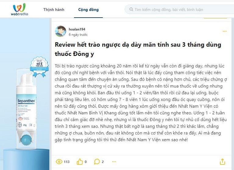 Review của bệnh nhân trào ngược dạ dày mãn tính về Nhất Nam Bình Vị Khang trên Webtretho